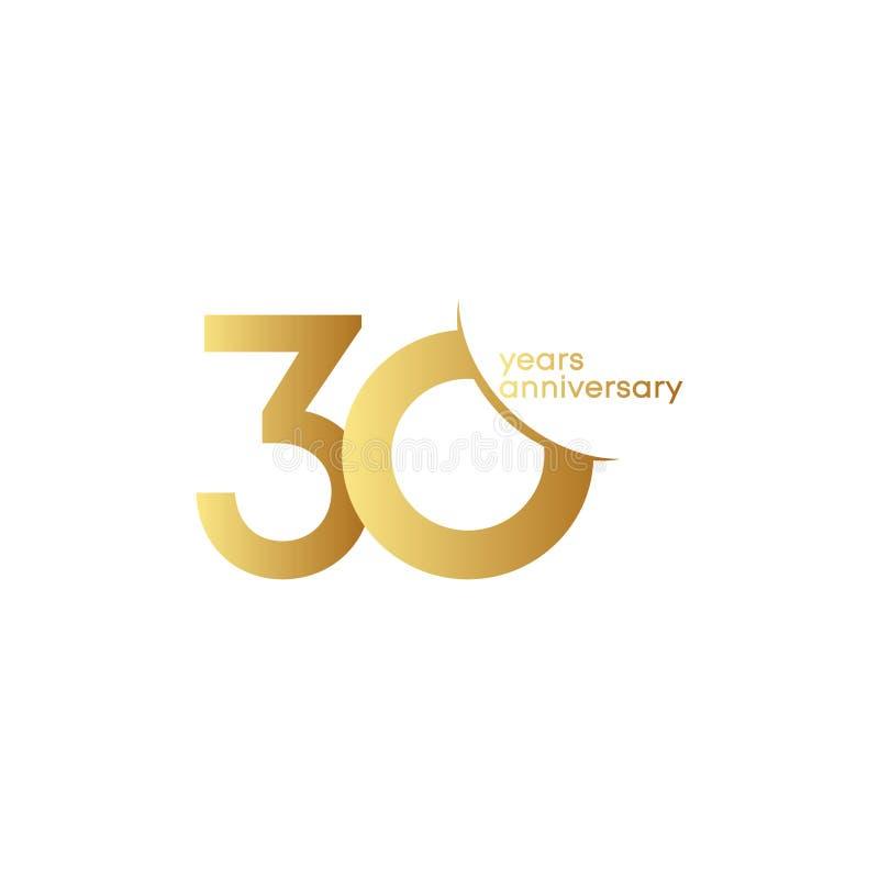 30 Jahre Jahrestags-Vektor-Schablonen-Entwurfs-Illustrations- stock abbildung