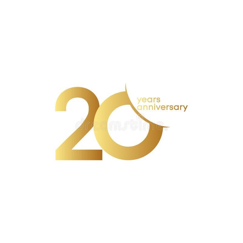 20 Jahre Jahrestags-Vektor-Schablonen-Entwurfs-Illustrations- stock abbildung