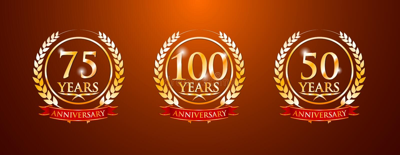 100 75 50 Jahre Jahrestagsaufkleber lizenzfreie abbildung