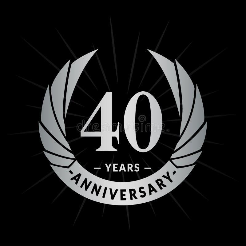 40 Jahre Jahrestagsentwurfs-Schablone Eleganter Jahrestagslogoentwurf Vierzig Jahre Logo lizenzfreie abbildung