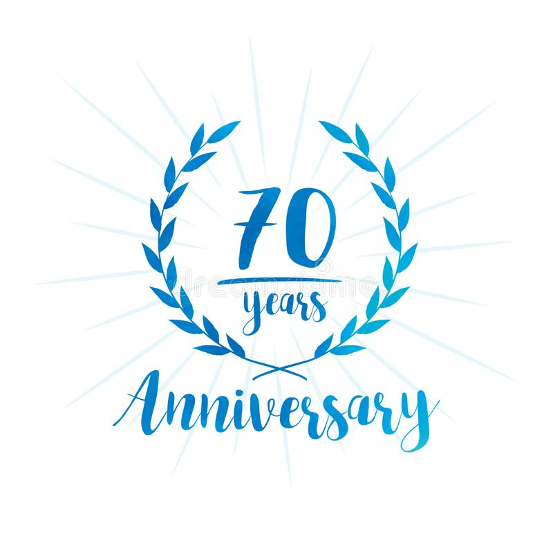 70 Jahre Jahrestagsentwurfs-Schablone Siebzig Jahre Jahrestag, die Entwurfsschablone feiern vektor abbildung