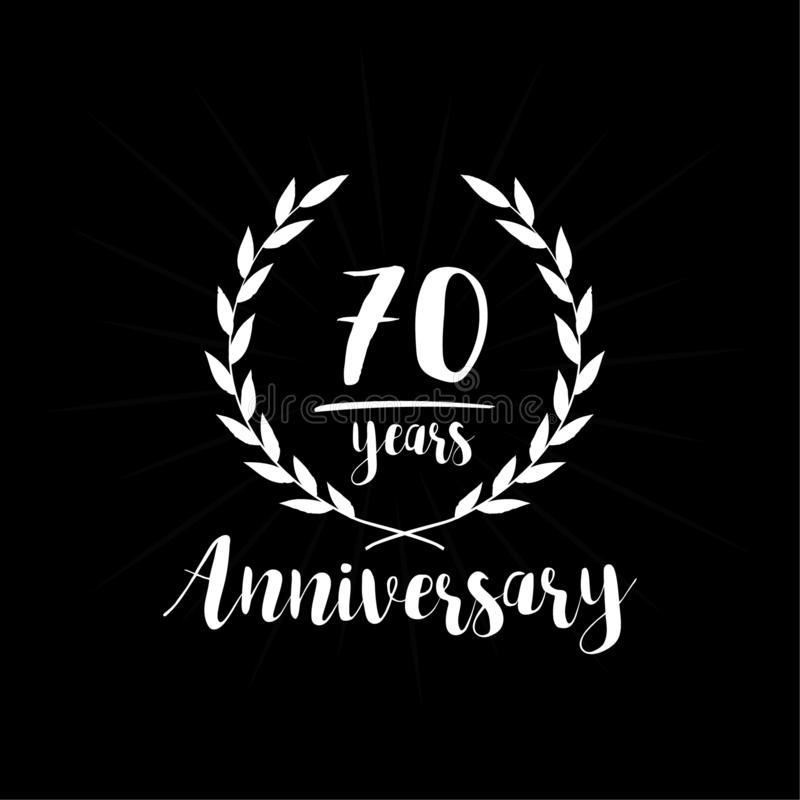 70 Jahre Jahrestagsentwurfs-Schablone Siebzig Jahre Jahrestag, die Entwurfsschablone feiern lizenzfreie abbildung