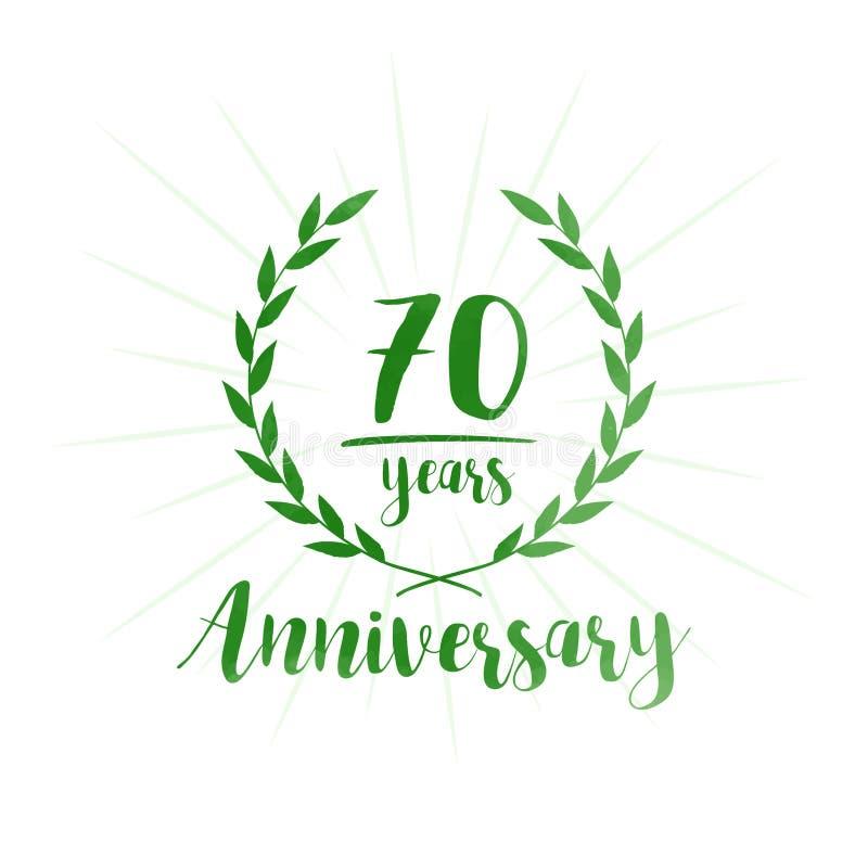 70 Jahre Jahrestagsentwurfs-Schablone Siebzig Jahre Jahrestag, die Entwurfsschablone feiern stock abbildung