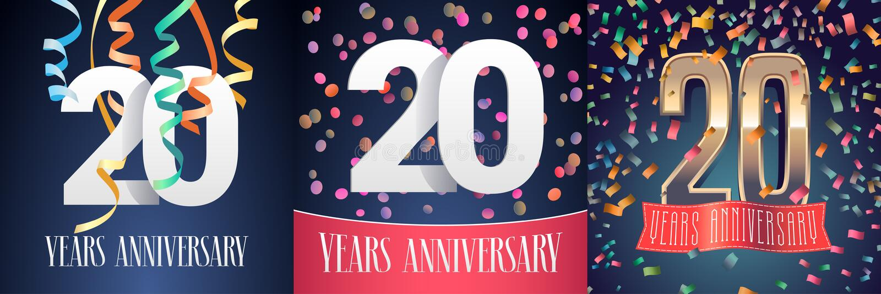 20 Jahre Jahrestagsfeier-Satz Vektorikonen lizenzfreie abbildung