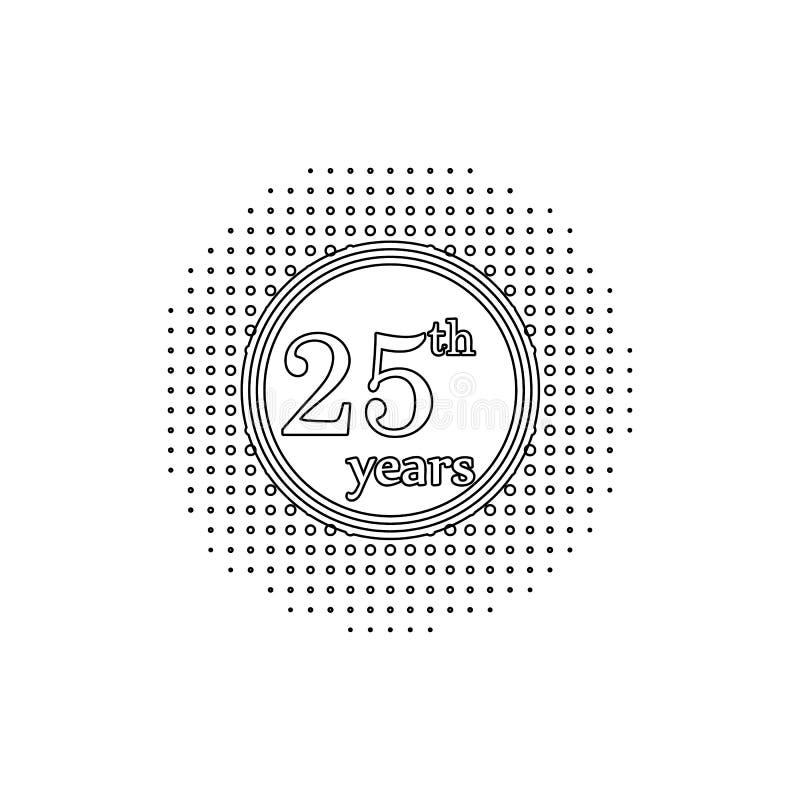 25 Jahre Jahrestagszeichen Element der Jahrestagsillustration Erstklassige Qualit?tsgrafikdesignikone Zeichen und Symbolsammlung stock abbildung