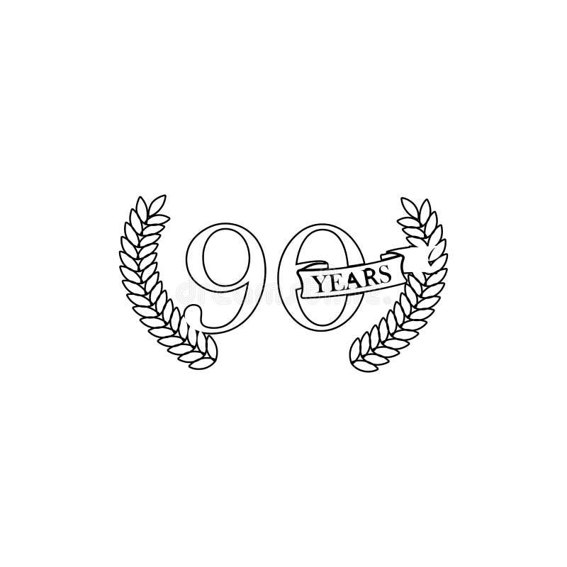 90 Jahre Jahrestagszeichen Element der Jahrestagsillustration Erstklassige Qualit?tsgrafikdesignikone Zeichen und Symbolsammlung vektor abbildung