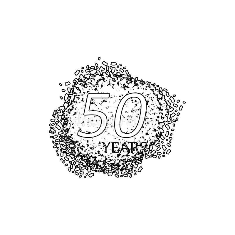 50 Jahre Jahrestagszeichen Element der Jahrestagsillustration Erstklassige Qualit?tsgrafikdesignikone Zeichen und Symbolsammlung stock abbildung