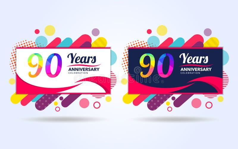 90 Jahre knallen moderne Gestaltungselemente des Jahrestages, bunte Ausgabe, Feierschablonenentwurf, Knallfeier-Schablonenentwurf stock abbildung