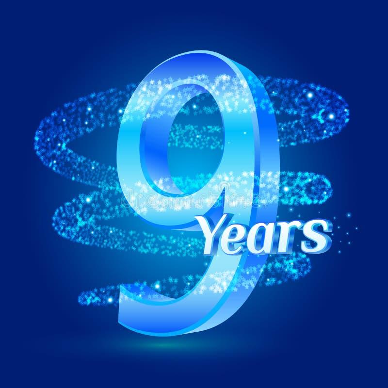 9 Jahre Logo-Feier des Glanzjahrestages 3d mit funkelndes gewundenes Sternstaubhinterfunkelnden Partikeln Neun Jahre des Jahresta vektor abbildung