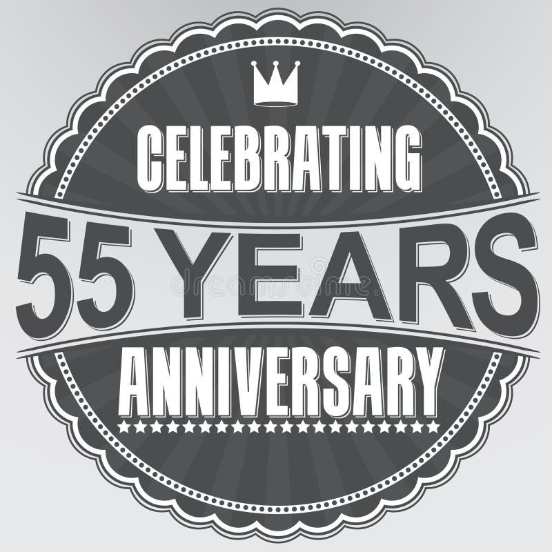 55 Jahre Retro- Aufkleber des Jahrestages feiern, Vektor illustratio lizenzfreie abbildung