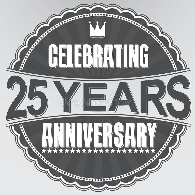 5 Jahre Retro- Aufkleber des Jahrestages feiern, Vektorillustration lizenzfreie abbildung