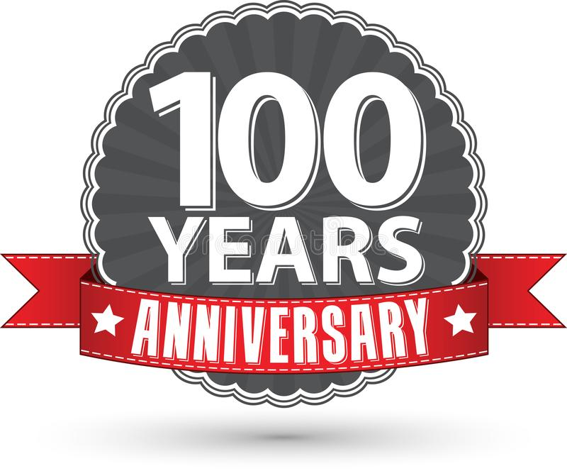 100 Jahre Retro- Aufkleber des Jahrestages mit rotem Band feiern, v lizenzfreie abbildung