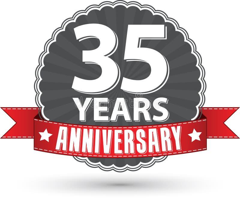 35 Jahre Retro- Aufkleber des Jahrestages mit rotem Band feiern, VE stock abbildung