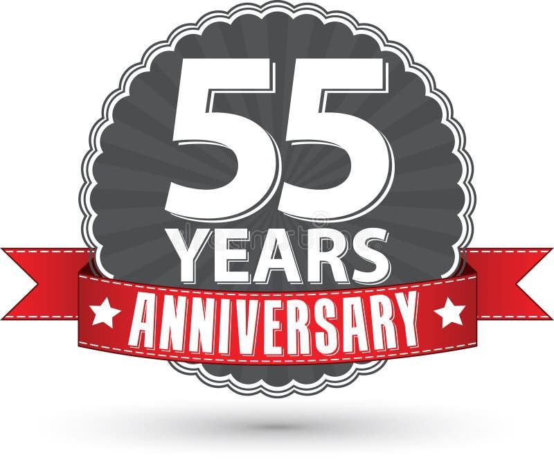 55 Jahre Retro- Aufkleber des Jahrestages mit rotem Band feiern, VE lizenzfreie abbildung