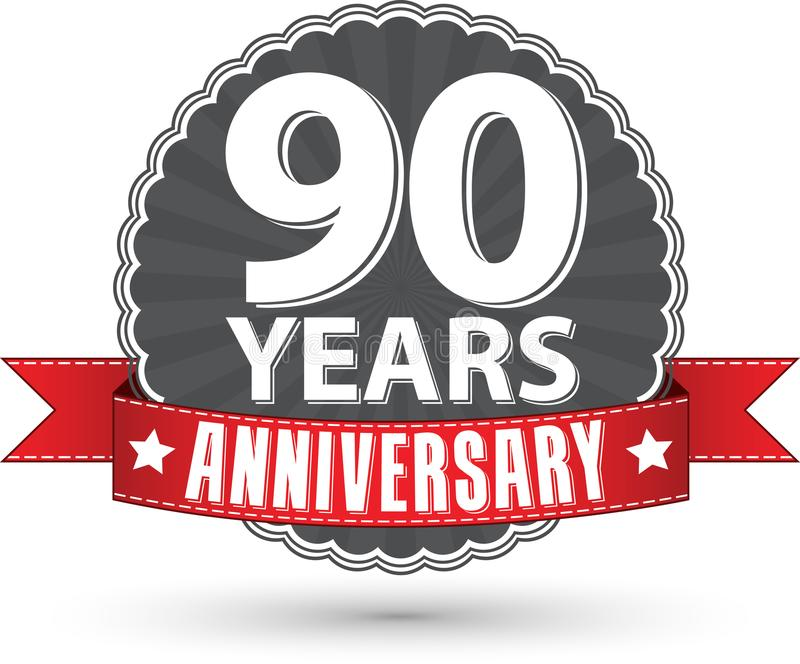 90 Jahre Retro- Aufkleber des Jahrestages mit rotem Band feiern, VE lizenzfreie abbildung
