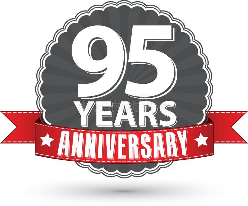 95 Jahre Retro- Aufkleber des Jahrestages mit rotem Band feiern, VE stock abbildung