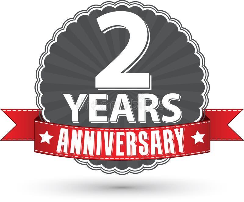 2 Jahre Retro- Aufkleber des Jahrestages mit rotem Band feiern, vec lizenzfreie abbildung