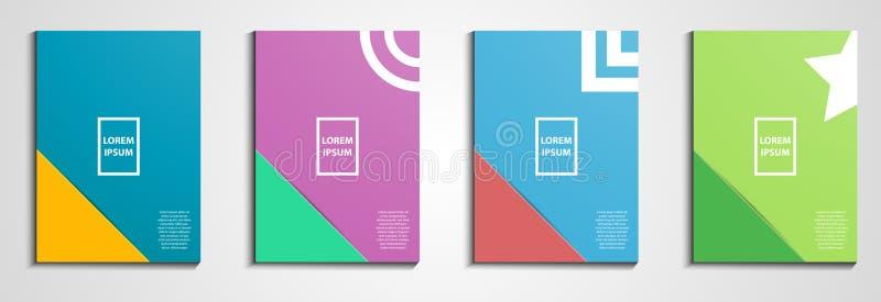 Jahresbericht umfasst Entwurf Notizbuchabdeckung Minimales geometrisches Design Vektor der Illustration Eps10 Pastellfarbton Gesc vektor abbildung