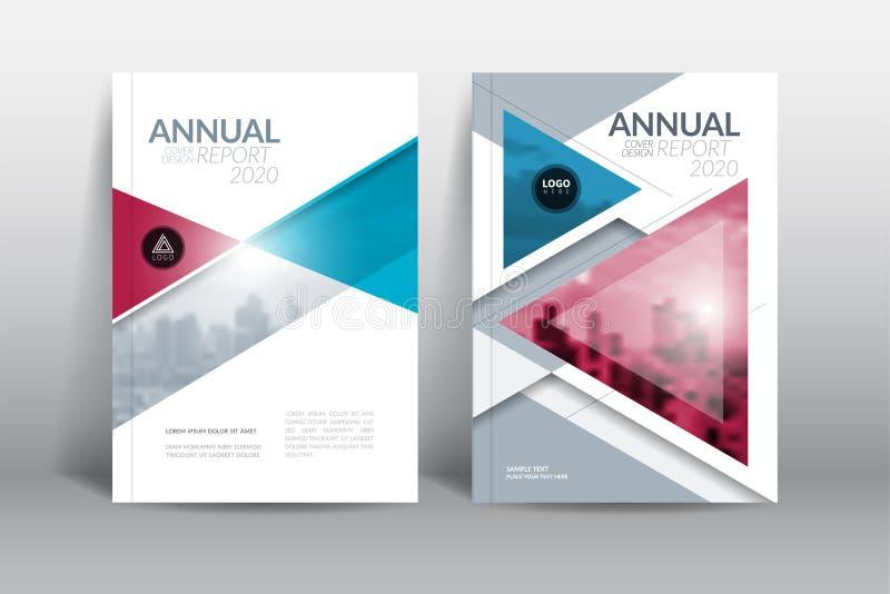 Jahresberichtabdeckungsbroschürenflieger-Entwurfsschablone mit abstraktem Dreieckvektor stock abbildung