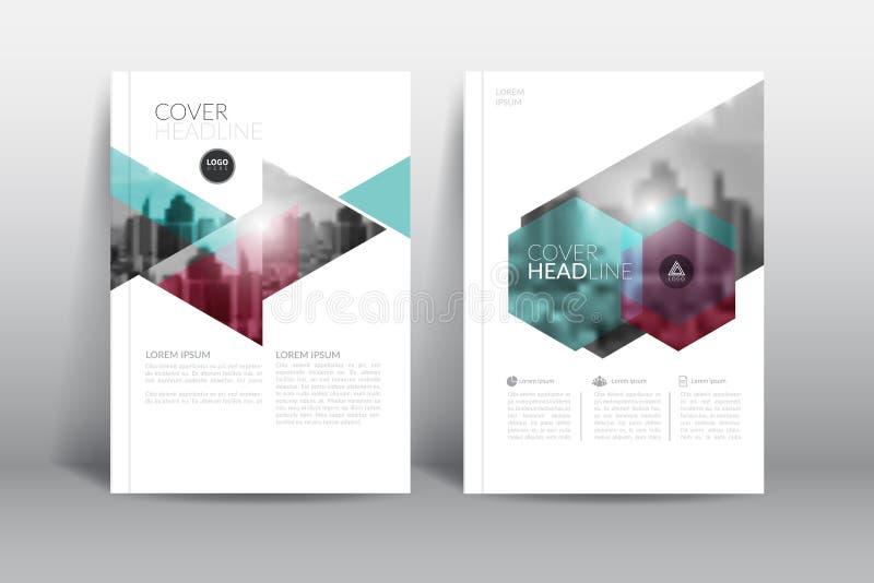 Jahresberichtabdeckungsbroschürenflieger-Entwurfsschablone mit abstraktem Hexagonvektor lizenzfreie abbildung