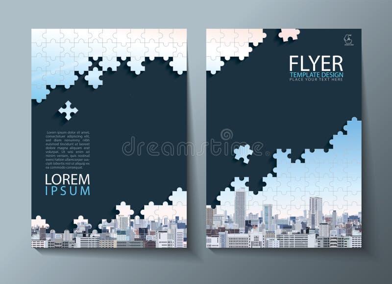 Jahresberichtbroschüre, Fliegerdesign, flacher Hintergrund der Broschürenabdeckungsdarstellungs-Zusammenfassung, Bucheinbandschab stock abbildung