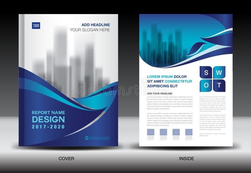Jahresberichtbroschüren-Fliegerschablone, blaues Abdeckungsdesign stock abbildung