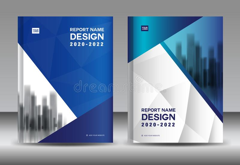 Jahresberichtbroschüren-Fliegerschablone, blaues Abdeckungsdesign, Geschäftsanzeige, Zeitschriftenanzeigen, Katalogvektor vektor abbildung