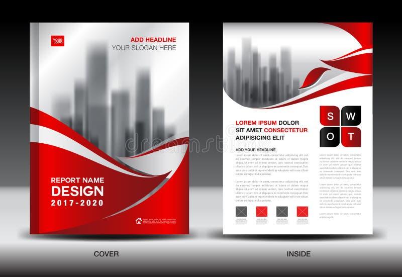 Jahresberichtbroschüren-Fliegerschablone, rotes Abdeckungsdesign stock abbildung