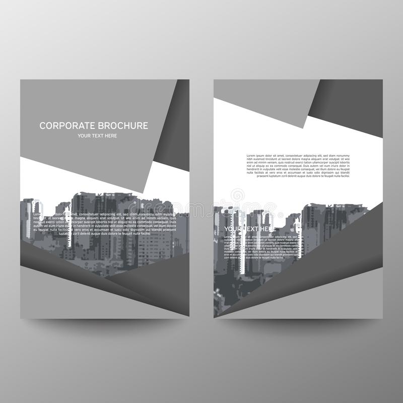 Jahresberichtbroschürenfliegerentwurfs-Schablonenvektor, flacher Hintergrund der Broschürenabdeckungsdarstellungs-Zusammenfassung lizenzfreie abbildung