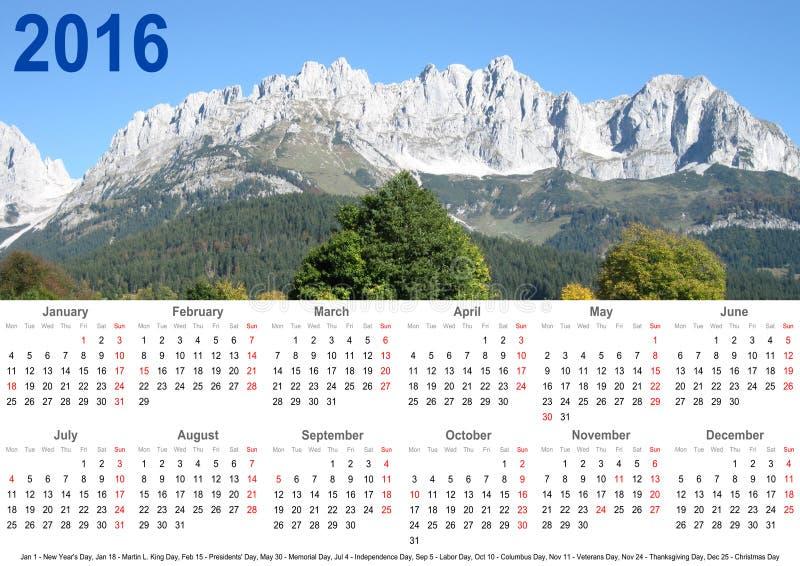 Jahreskalenderberglandschaft 2016 und Urlaube USA lizenzfreie stockfotos