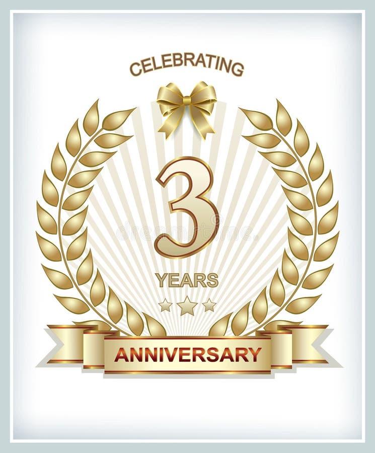 3. Jahrestag vektor abbildung. Illustration von fahne