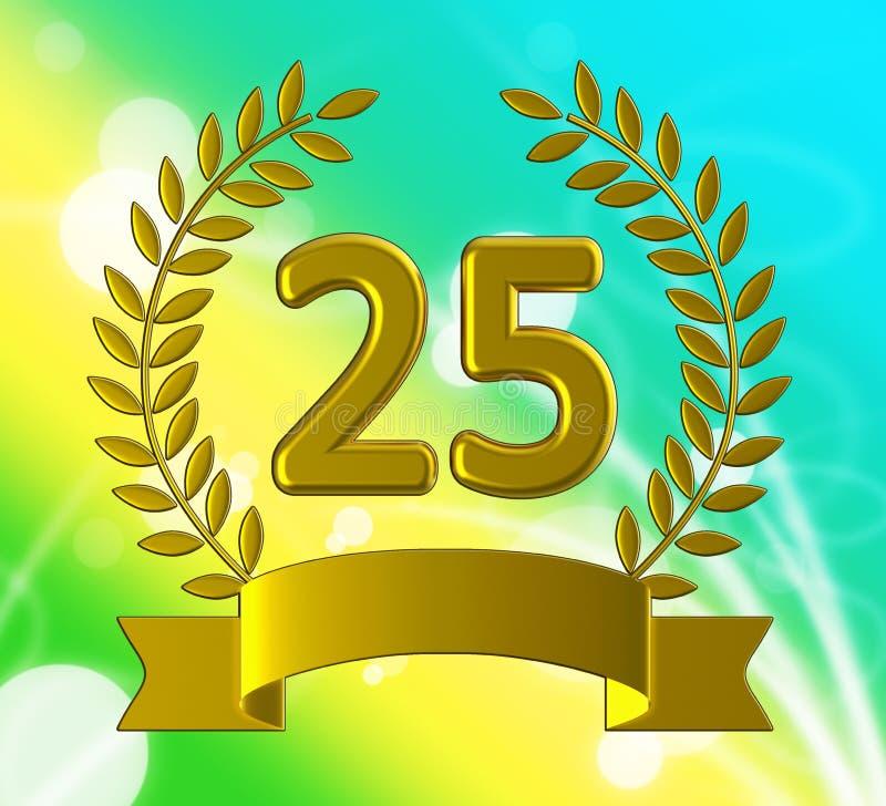25. Jahrestag der Feier zeigt Feier und Grüße für die Ehe - 3D-Abbildung stock abbildung
