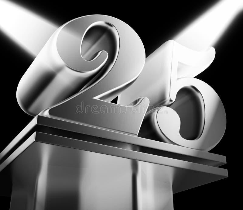 25. Jahrestag der Feier zeigt Feier und Grüße für die Ehe - 3D-Abbildung vektor abbildung