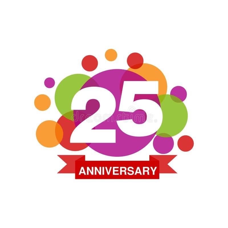 25. Jahrestag färbte Logodesign, festliches Feieremblem des glücklichen Feiertags mit Bandvektor Illustration lizenzfreie abbildung