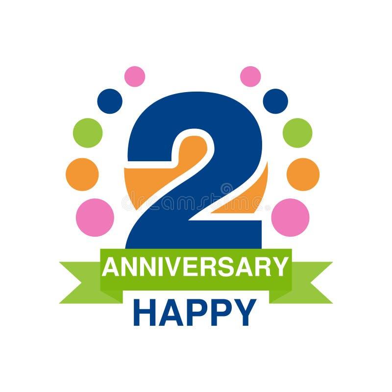 2. Jahrestag färbte Logodesign, festliches Feieremblem des glücklichen Feiertags mit Bandvektor Illustration stock abbildung