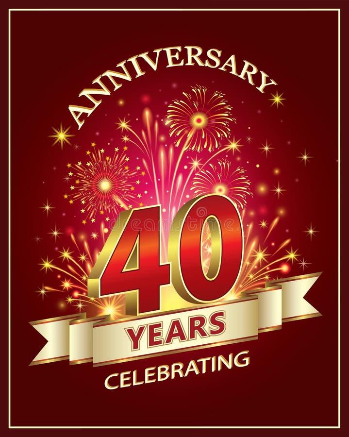 Jahrestag 40 Jahre stock abbildung