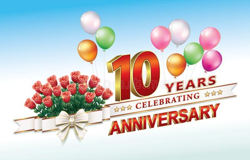 Jahrestag 10 Jahre stock abbildung