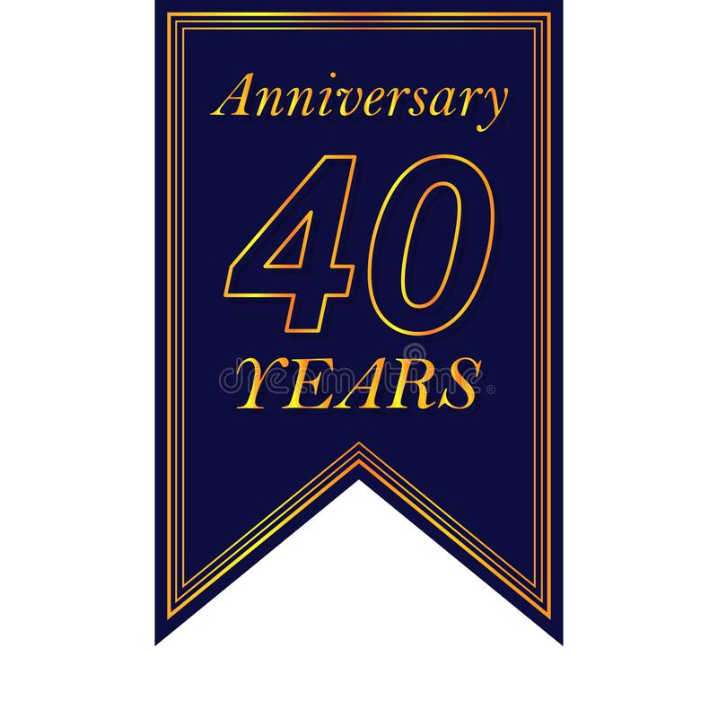 Jahrestag, 40 Jahre mehrfarbige Ikone Kann für Netz, Logo, mobiler App, UI, UX verwendet werden lizenzfreie abbildung