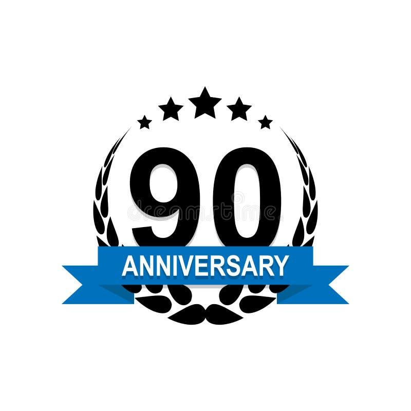 Jahrestag, 90 Jahre mehrfarbige Ikone Kann für Netz, Logo, mobiler App, UI, UX verwendet werden stock abbildung