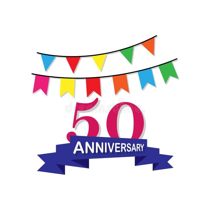 Jahrestag, 50 Jahre mehrfarbige Ikone Kann für Netz, Logo, mobiler App, UI, UX verwendet werden stock abbildung