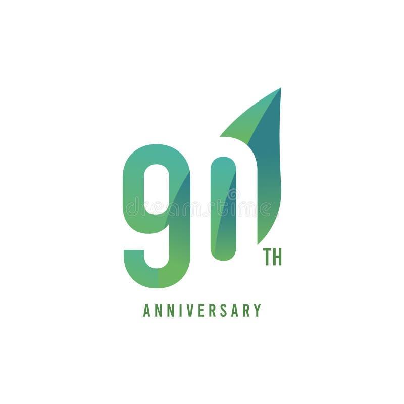 90. Jahrestag Logo Vector Template Design Illustration lizenzfreie abbildung