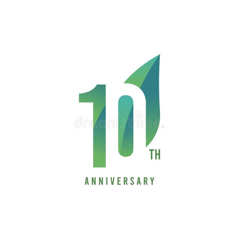 10. Jahrestag Logo Vector Template Design Illustration lizenzfreie abbildung