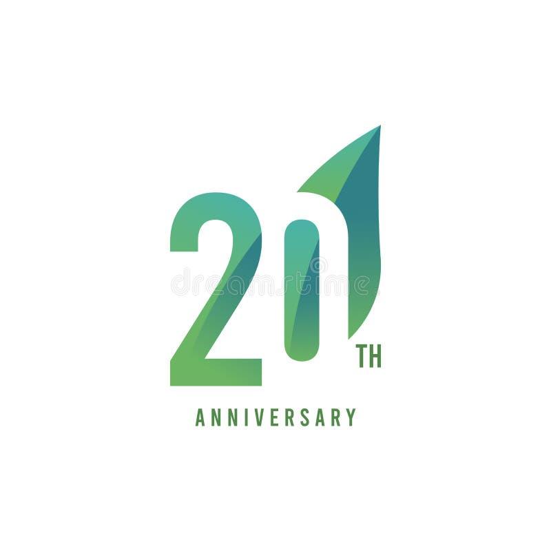 20. Jahrestag Logo Vector Template Design Illustration lizenzfreie abbildung