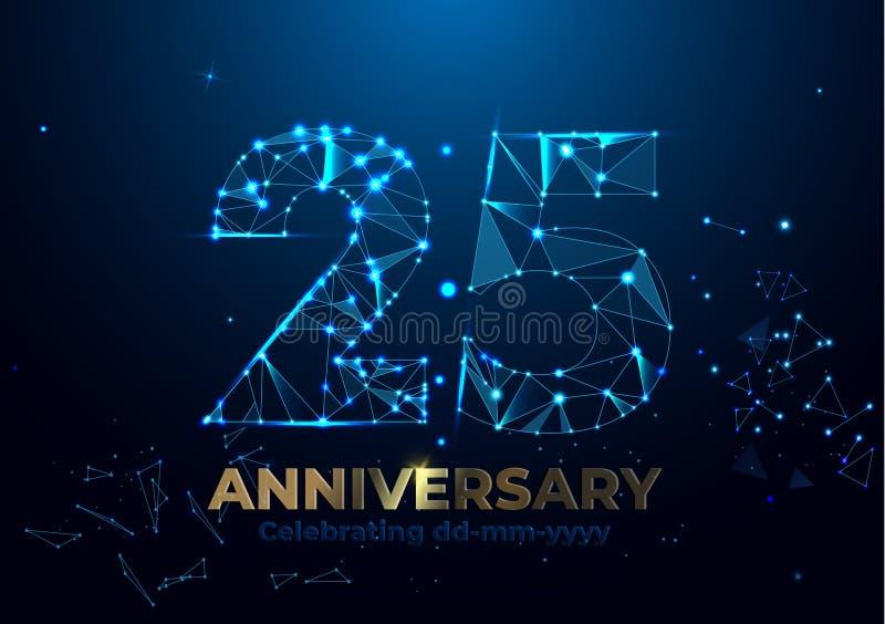Jahrestag 25 Polygonale Jahrestagsgrußfahne Feiern der 25. Jahrestagsereignispartei rote, orange, gelbe Farben Niedriges Polygon stock abbildung