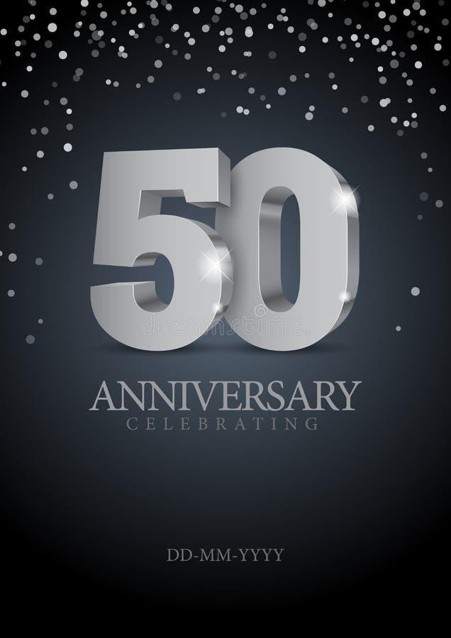 Jahrestag 50 silberne Zahlen 3d stock abbildung