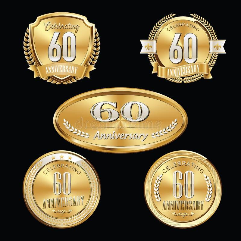60. Jahrestag versinnbildlicht Satz vektor abbildung