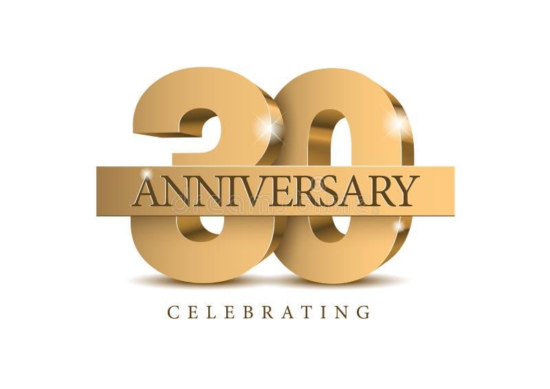 Jahrestag 30 Zahlen des Gold 3d lizenzfreie abbildung