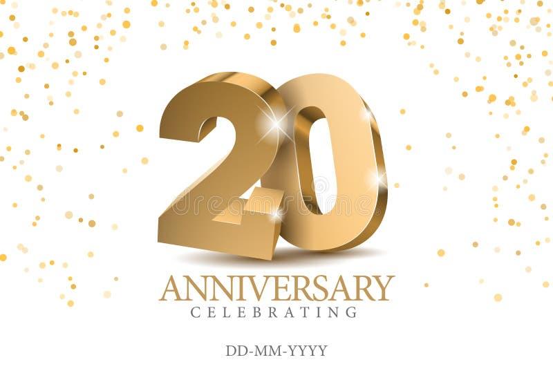 Jahrestag 20 Zahlen des Gold 3d vektor abbildung