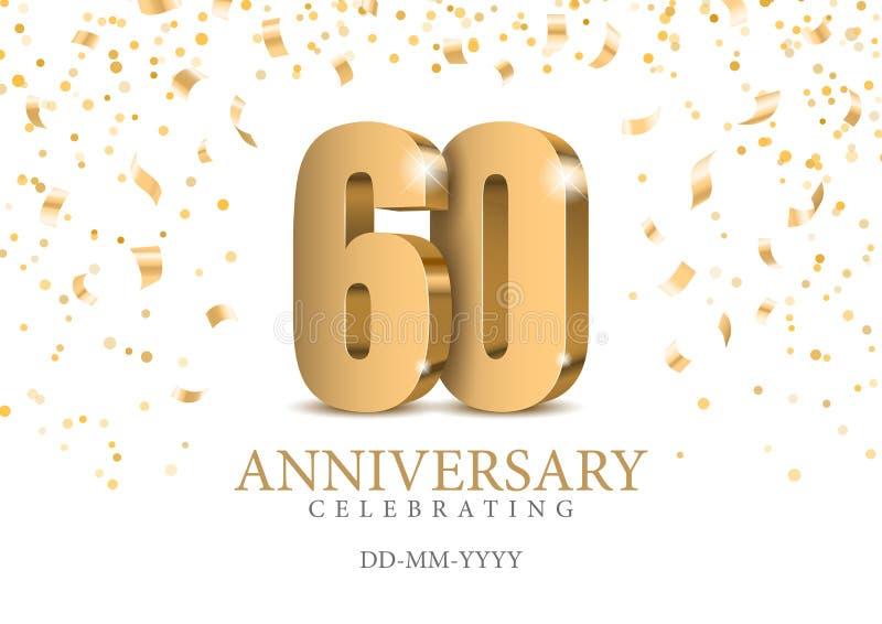 Jahrestag 60 Zahlen des Gold 3d lizenzfreie abbildung