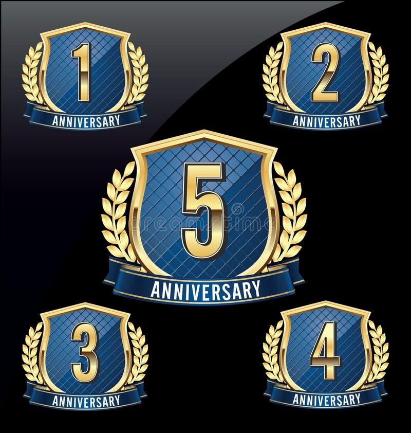 Jahrestags-Ausweis-Gold und Blau 1., 2., 3., 4., 5. Jahre vektor abbildung